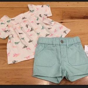 Gap Girls Outfit Zebra Shirt & Teal Denim Shorts